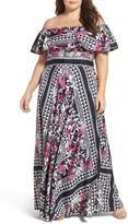 Eliza J Plus Size Women's Off-The-Shoulder Print Maxi Dress