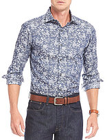 Hart Schaffner Marx Chambray Floral Jacquard Long-Sleeve Sportshirt