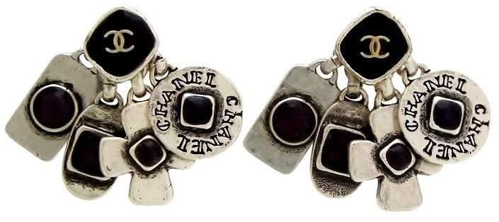 Chanel Silver Tone Metal & Black Stone Stud Dangle Earrings