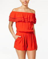 Amy Byer Juniors' Crochet-Trim Off-The-Shoulder Romper