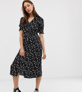 Influence Tall shirred sleeve floral midi dress with button down front in black