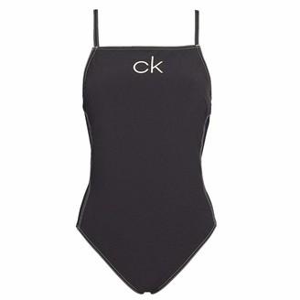 Calvin Klein Apron One Piece Swim Suit Black Black Medium - Size 12