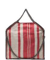 Stella McCartney Red and Beige Falabella Stripe Linen Tote Bag