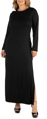 24/7 Comfort Apparel Form Fitting Long Sleeve Maxi Dress