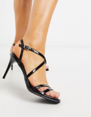 New Look cross strap patent stilettos in black