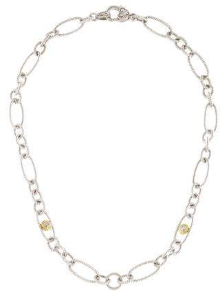 Judith Ripka Diamond Two-Tone Oval Link Chain Necklace