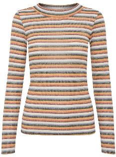 Ichi Ihverona ls2 striped long sleeved lurex thread T Shirt - Port Royale | polyester | xs