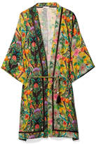 Matthew Williamson Mediterranean Medley Lattice-trimmed Printed Silk-chiffon Kimono - Green
