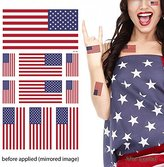 Supperb American Flag Temporary Tattoo Kit, USA Flag Temporary Tattoos, 10 Tattoos