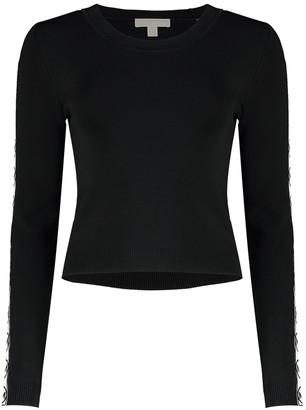 MICHAEL Michael Kors Logo Tape Viscose Cropped Sweater