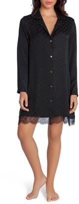 Midnight Bakery Lace Trim Dot Satin Sleep Shirt