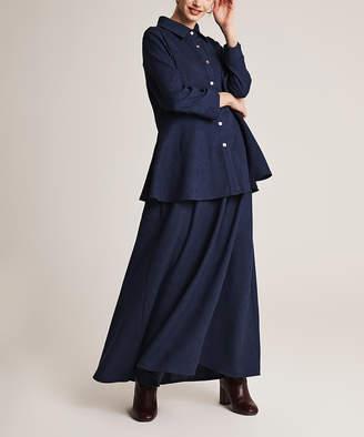 Simmly Women's Maxi Skirts Navy - Navy Blue Velvet Button-Up & Maxi Skirt - Women