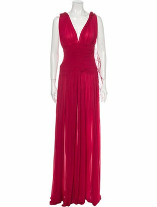 Alaia Plunge Neckline Long Dress w/ Tags Pink