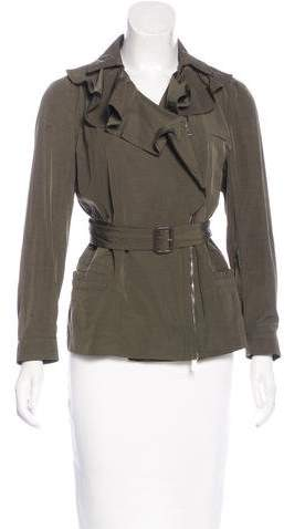 Valentino Ruffle-Trimmed Belted Jacket