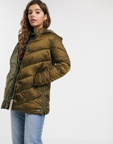 Maison Scotch longline padded jacket with hood