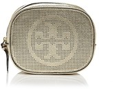 Tory Burch Logo Perforated Metallic Leather Cosmetic Case
