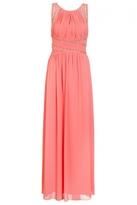 Quiz Coral Chiffon Embellished Keyhole Maxi Dress
