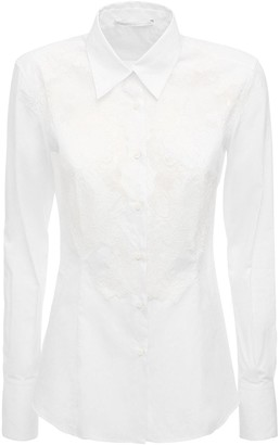 Ermanno Scervino Fitted Cotton Lace & Poplin Shirt