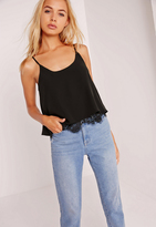 Missguided Lace Hem Cami Top Black