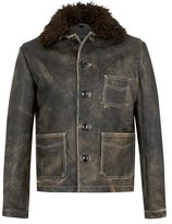 Topman DESIGN Dusty Gray Leather Coat