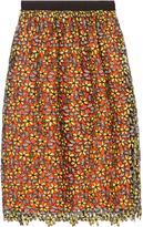 Self-Portrait Daisy guipure-lace midi skirt