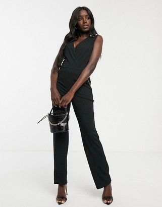 Morgan tailored jumpsuit with button detail shoulder in black