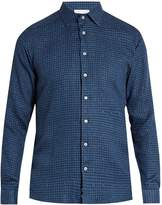 Etro Pin-dot and checked linen-blend shirt