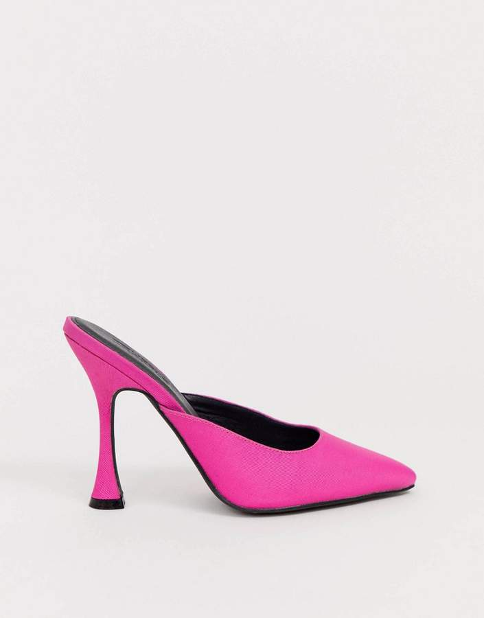 0ab1134e915 pointed heeled mules in pink