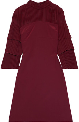 Mikael Aghal Pleated Georgette-paneled Silk-crepe Dress