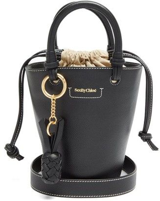 See by Chloe Cecilia Small Grained-leather Bucket Bag - Black