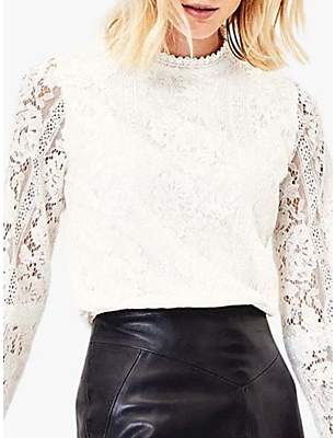 Oasis Lace Long Sleeve Broderie Top
