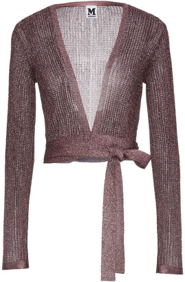 M Missoni Cropped Metallic Pointelle-knit Wrap Top