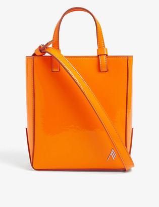 ATTICO Branded mini patent leather shopper bag