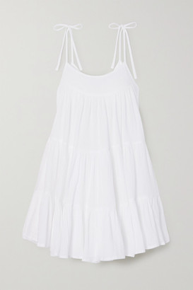 HONORINE Peri Tiered Crinkled Cotton-gauze Mini Dress - White