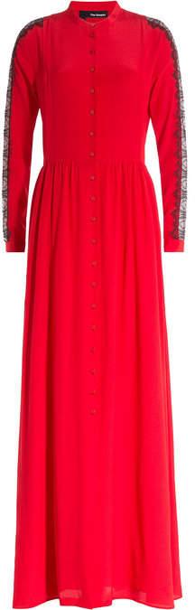 The Kooples Floor Length Silk Dress wth Lace