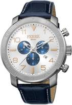 Ferré Milano Men's FM1G061L0021 Silver Dial with Dark Blue Leather Band Watch.