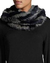 Jocelyn Rabbit Fur Infinity Scarf, Navy Multicolor