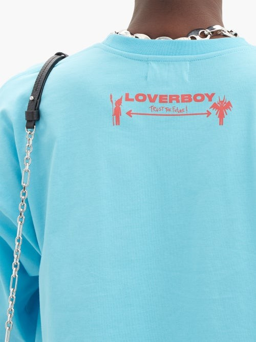 Thumbnail for your product : Charles Jeffrey Loverboy Face Logo-print Oversized Cotton-jersey T-shirt - Blue