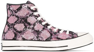 Converse Pink Snakequins Chuck 70 high top sneakers