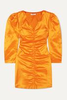 Avavav Ruched Silk-charmeuse Mini Dress