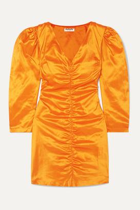 AVAVAV Ruched Silk-charmeuse Mini Dress - Orange