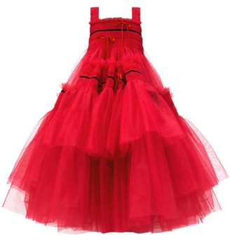 Molly Goddard Meva Bow-embellished Hand-smocked Tulle Dress - Pink