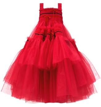 Molly Goddard Meva Bow-embellished Smocked Tulle Dress - Pink