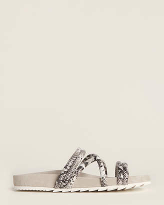 J/Slides Black & White Tess Snakeskin-Effect Slide Sandals