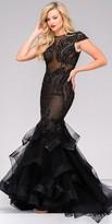 Jovani Illusion Beaded Tiered Mermaid Prom Dress