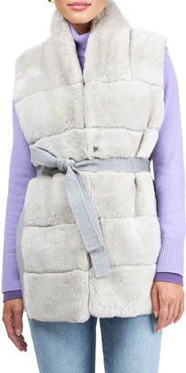 Gorski Reversible Rex Rabbit Vest with Wool Back and Belt