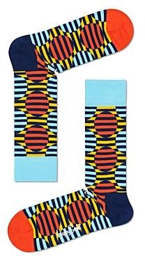 Happy Socks Color-Blocked Optic Dot Crew Socks