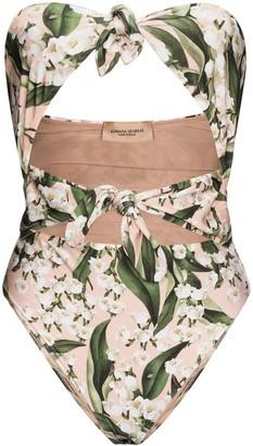 Adriana Degreas Muguet foliage-print bandeau swimsuit
