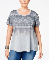 Style&Co. Style & Co. Plus Size Ombré Paisley-Print T-Shirt, Only at Macy's
