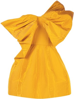 Oscar de la Renta One-Shoulder Taffeta Bow Mini Dress